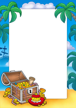 tropical frame: Frame with big treasure chest - color illustration. Stock Photo