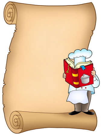 recipe book: Parchment with chef and book - color illustration.