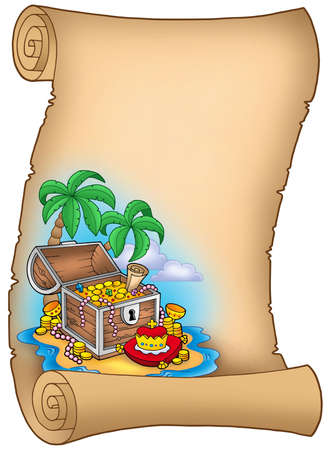 island clipart: Parchment with treasure on island - color illustration. Stock Photo