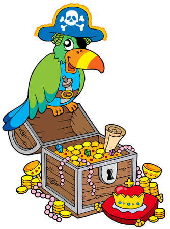Big treasure chest with pirate parrot - vector illustration.