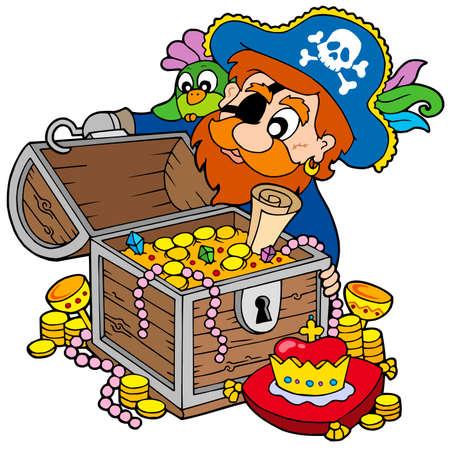 pirata: Pirata abrir el cofre del tesoro - ilustraci�n vectorial.