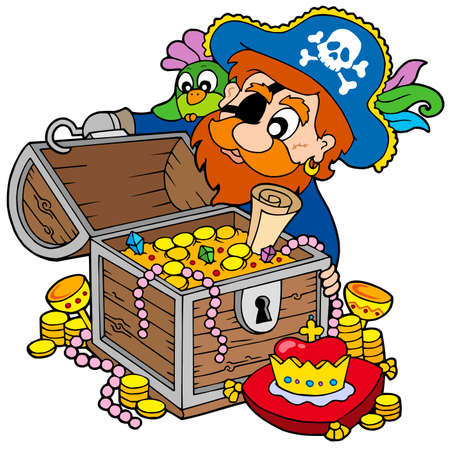 Pirate opening treasure chest - vector illustration. Vector