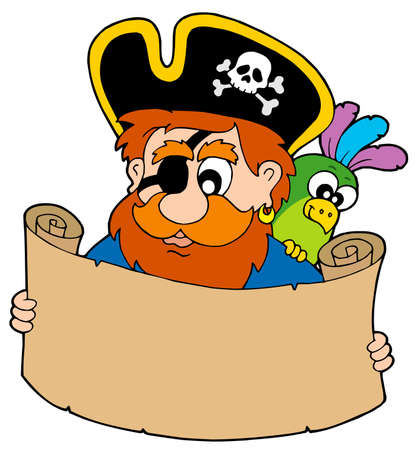 Pirate reading treasure map - vector illustration. Vector
