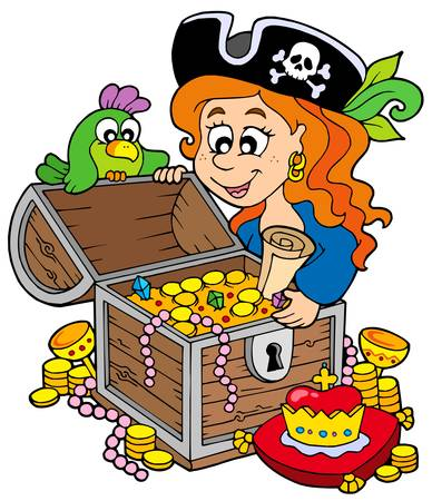 large skull: Pirate woman opening treasure chest - vector illustration.
