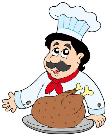 Cartoon chef with roasted meat - vector illustration. Vector
