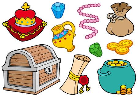 cartoon money: Treasure collection on white background - vector illustration.