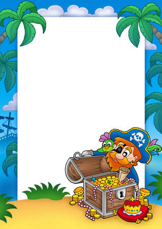 Frame with pirate and treasure - color illustration. illustration