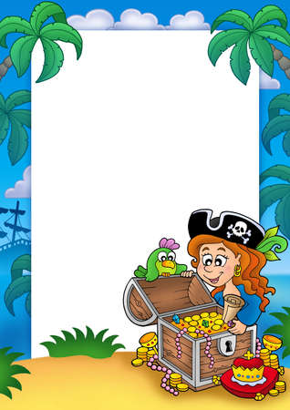 chest women: Frame with pirate girl and treasure - color illustration.