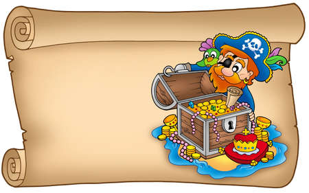 male chest: Old scroll with pirate and treasure - color illustration.