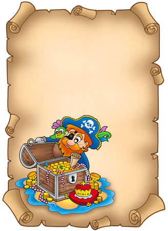 large skull: Parchment with pirate and treasure - color illustration.