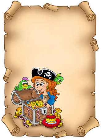 Parchment with pirate girl and treasure - color illustration. illustration