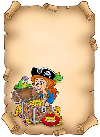 mujer pirata: Pergamino con ni�a de pirata y Tesoro - ilustraci�n de color. Foto de archivo