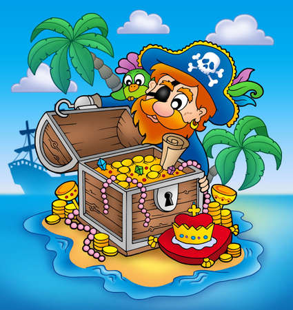 parrots: Pirate and treasure - color illustration.