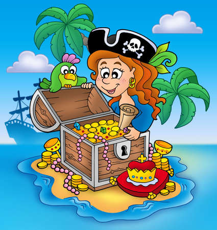 big girls: Pirate girl and treasure - color illustration.