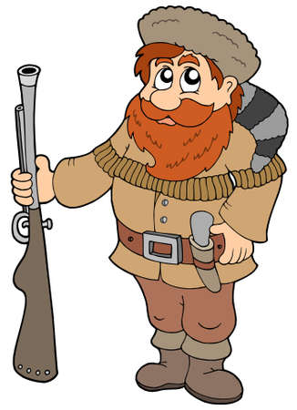 riffle: Cartoon trapper on white background - vector illustration.