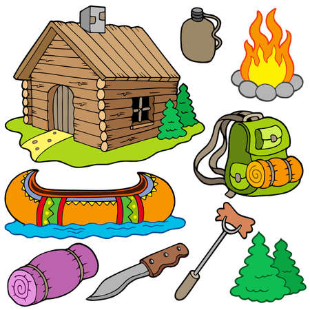 Collection of outdoor objects - vector illustration. Stock Vector - 6016892