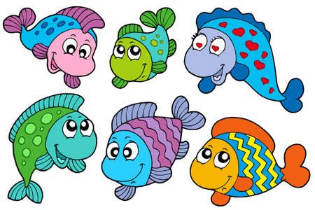 Crazy fishes collection - vector illustration. Stock Vector - 6016889