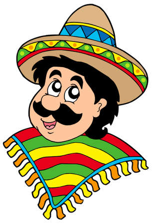 caricatura mexicana: Retrato de hombre mexicano - ilustraci�n vectorial.