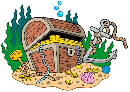 cofre del tesoro: Cofre del Tesoro en el fondo del mar - ilustraci�n vectorial.