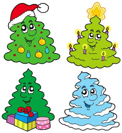 Various cartoon Christmas trees - vector illustration. Vector