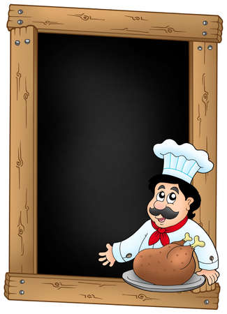 Blackboard and chef with meal - color illustration. illustration