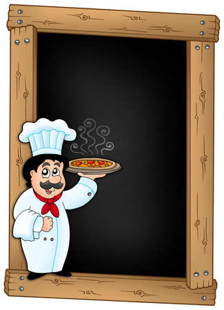 Blackboard with chef holding pizza - color illustration. illustration