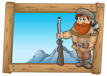 adventurer: Cartoon trapper in wooden frame - color illustration.