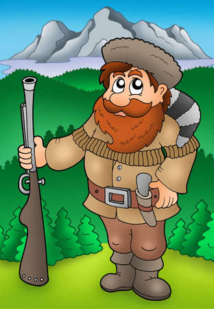 adventurer: Cartoon trapper with mountains - color illustration. Stock Photo