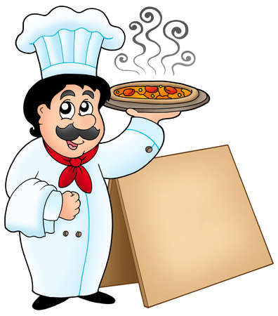 Chef holding pizza with table - color illustration. illustration