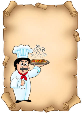 Parchment with chef holding pizza - color illustration. illustration