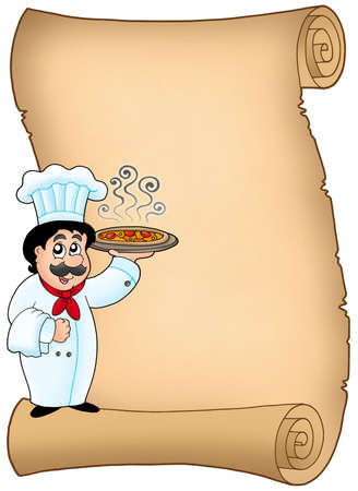 pizza man: Scroll with chef holding pizza - color illustration.