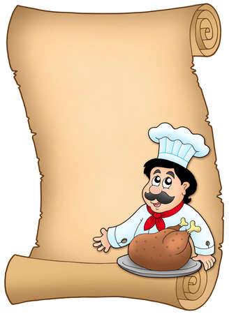 roast dinner: Scroll with chef with roasted meat - color illustration. Stock Photo