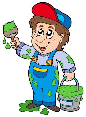 cartoon painter: Cartoon house painter - vector illustration.