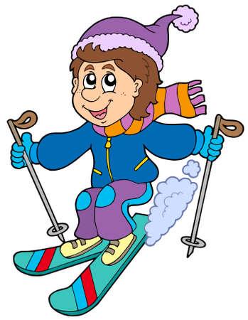Cartoon skiing boy - vector illustration. Stock Vector - 6029236