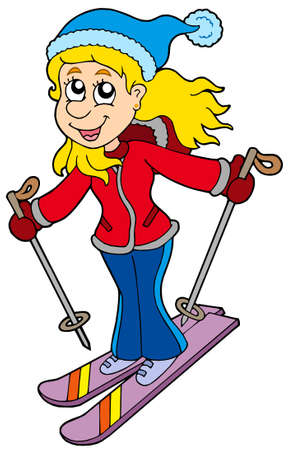 Cartoon skiing woman - vector illustration.