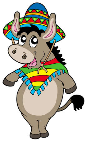 Dancing Mexican donkey - vector illustration. Vector