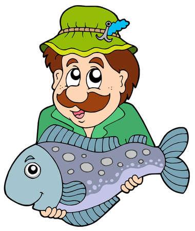 anglers: Fisherman holding big fish - vector illustration.