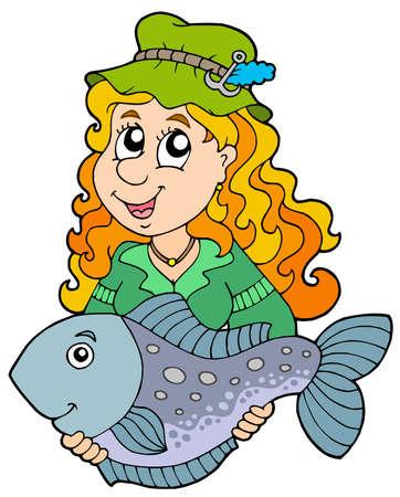 Fisherwoman holding big fish - vector illustration. Illustration
