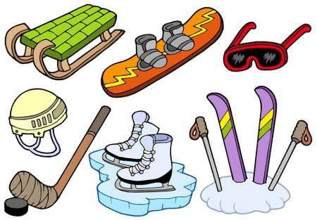 Colección de deportes de invierno - ilustración vectorial.