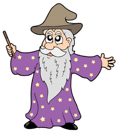 warlock: Wizard with magic wand - vector illustration.
