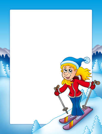 Frame with cartoon skiing woman - color illustration. Stock Illustration - 6029225