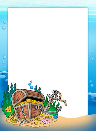 coin box: Frame with treasure chest in sea - color illustration.