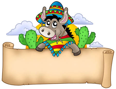 Mexican donkey holding parchment - color illustration. illustration