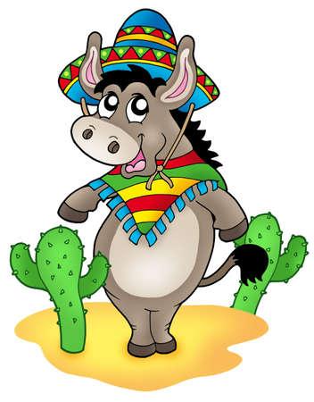 cartoon donkey: Mexican donkey with cactuses - color illustration. Stock Photo