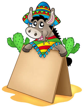 mexican cartoon: Mexican donkey with wooden table - color illustration. Stock Photo