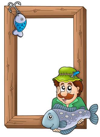 Wooden frame with fisherman - color illustration. illustration