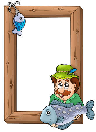 on the hook: Wooden frame with fisherman - color illustration. Stock Photo