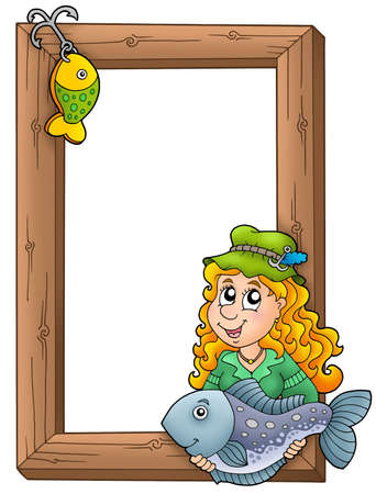Wooden frame with fisherwoman - color illustration. illustration