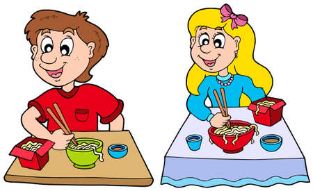 카레: Boy and girl eating Chinese food - vector illustration.