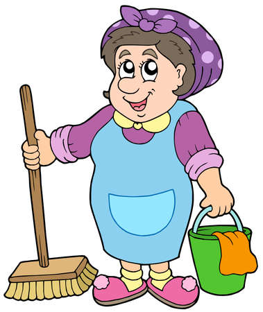 Cartoon cleaning lady - vector illustration.